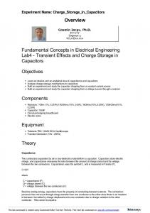 Overview. Fundamental Concepts in Electrical Engineering Lab4 - Transient Effects and Charge Storage in Capacitors