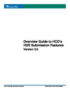 Overview Guide to HCO s HUD Submission Features Version 3.0