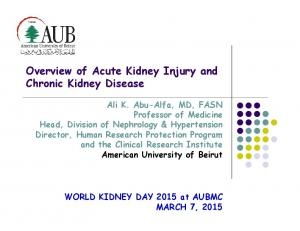 Overview of Acute Kidney Injury and Chronic Kidney Disease