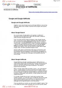 Overview of AdWords.  Google and Google AdWords. Google and Google AdWords. About Google Search. About Google AdWords