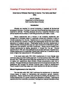 Overview of Mineral Nutrition in Cattle: The Dairy and Beef NRC