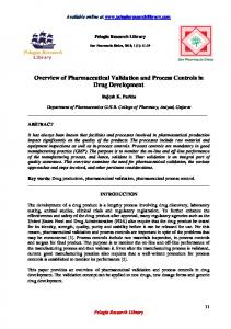 Overview of Pharmaceutical Validation and Process Controls in Drug Development