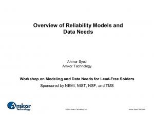 Overview of Reliability Models and Data Needs