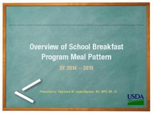 Overview of School Breakfast Program Meal Pattern