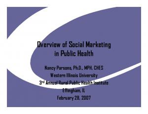 Overview of Social Marketing in Public Health