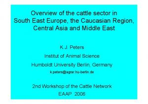 Overview of the cattle sector in South East Europe, the Caucasian Region, Central Asia and Middle East