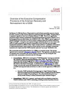 Overview of the Executive Compensation Provisions of the American Recovery and Reinvestment Act of 2009