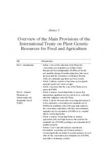 Overview of the Main Provisions of the International Treaty on Plant Genetic Resources for Food and Agriculture