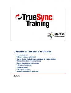 Overview of TrueSync and Outlook
