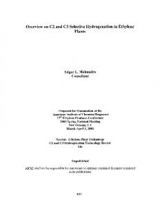 Overview on C2 and C3 Selective Hydrogenation in Ethylene Plants