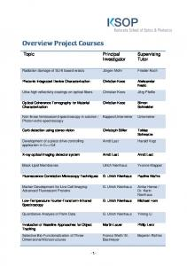 Overview Project Courses