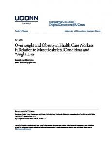 Overweight and Obesity in Health Care Workers in Relation to Musculoskeletal Conditions and Weight Loss