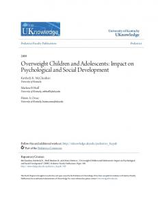 Overweight Children and Adolescents: Impact on Psychological and Social Development