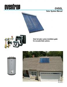 OVSOL Solar System Manual. Solar hot water system installation guide for evacuated tube systems