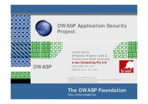 OWASP Application Security Project OWASP. The OWASP Foundation