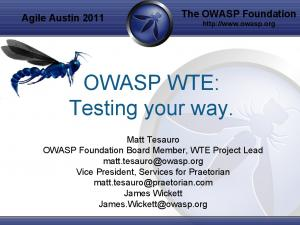 OWASP WTE: Testing your way