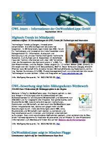 OWL intern Informationen der OstWestfalenLippe GmbH