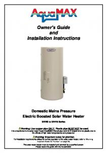 Owner s Guide and Installation Instructions