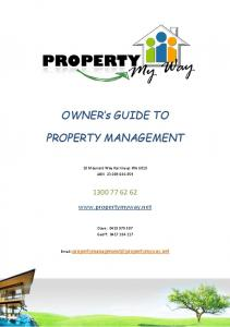 OWNER s GUIDE TO PROPERTY MANAGEMENT