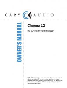 OWNER S MANUAL. Cinema 12. HD Surround Sound Processor