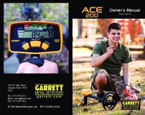 Owner s Manual Garrett Electronics, Inc. PN A W. State Street Garland, Texas USA