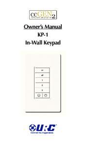 Owner s Manual KP-1 In-Wall Keypad