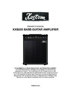 OWNER S MANUAL KXB200 BASS GUITAR AMPLIFIER
