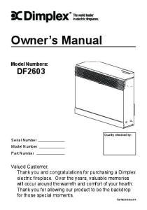 Owner s Manual. Model Numbers: DF2603