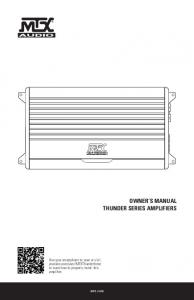 OWNER S MANUAL THUNDER SERIES AMPLIFIERS