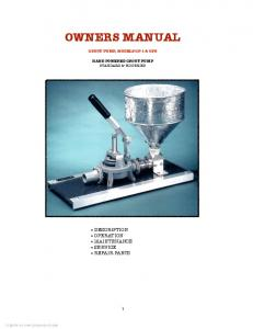 OWNERS MANUAL GROUT PUMP, MODELS GP-1 & GP2 HAND POWERED GROUT PUMP