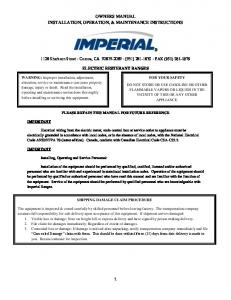 OWNERS MANUAL INSTALLATION, OPERATION, & MAINTENANCE INSTRUCTIONS