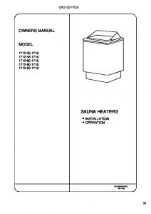 OWNERS MANUAL MODEL SAUNA HEATERS INSTALLATION OPERATION 314 SKSM 140 A