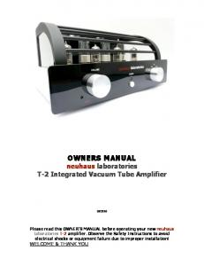 OWNERS MANUAL neuhaus laboratories T-2 Integrated Vacuum Tube Amplifier