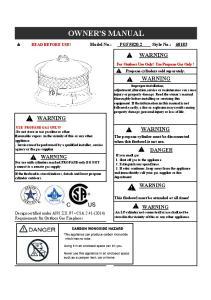 OWNER'S MANUAL WARNING WARNING WARNING WARNING