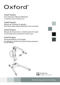 Oxford. Presence User Instruction Manual & Warranty. Oxford. Oxford. Presence Manuel de l utilisateur et garantie. Oxford