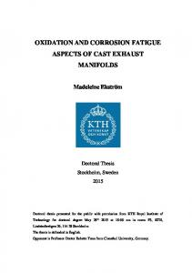 OXIDATION AND CORROSION FATIGUE ASPECTS OF CAST EXHAUST MANIFOLDS