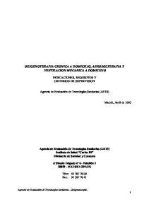 OXIGENOTERAPIA CRONICA A DOMICILIO, AEROSOLTERAPIA Y VENTILACION MECANICA A DOMICILIO