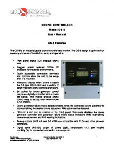 OZONE CONTROLLER Model OS-6 User Manual. OS-6 Features