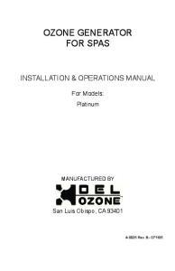 OZONE GENERATOR FOR SPAS