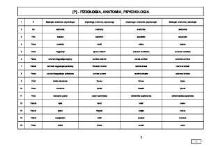 [P] - FIZJOLOGIA, ANATOMIA, PSYCHOLOGIA