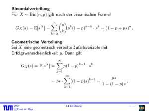 p k (1 p) n k s k = (1 p + ps) n. k p(1 p) k 1 s k ((1 p)s) k 1 =