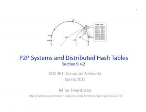 P2P Systems and Distributed Hash Tables Sec7on 9.4.2