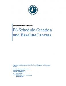 P6 Schedule Creation and Baseline Process