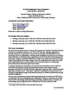 PA 540 Administrative Theory & Behavior Course Syllabus - Spring 2016
