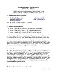 PA 540 Administrative Theory & Behavior Course Syllabus - Spring 2012