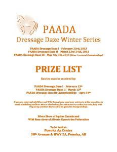 PAADA. Dressage Daze Winter Series
