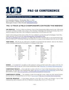 PAC-12 TRACK & FIELD CHAMPIONSHIPS CONTINUES THIS WEEKEND