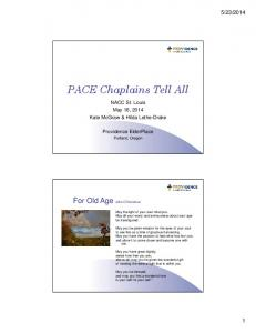 PACE Chaplains Tell All