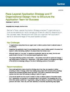 Pace-Layered Application Strategy and IT Organizational Design: How to Structure the Application Team for Success