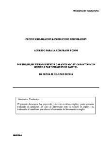 PACIFIC EXPLORATION & PRODUCTION CORPORATION ACUERDO PARA LA COMPRA DE BONOS
